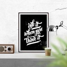 New to WallCandyPrintables on Etsy: Ink it when you think it Printable Art Print Quote Print Black and White Printable Home Decor Print Printable Art Digital Download (5.00 USD)