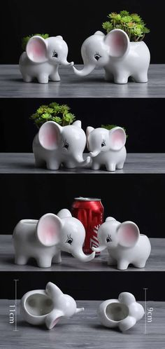 Ceramic Elephant Succulent Planter Flower Pot Plant Pot Pen Pencil Holder Paper Clip Holder Collection Office Desk Stationery Organizer