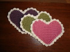 Crocheted Valentine Hearts