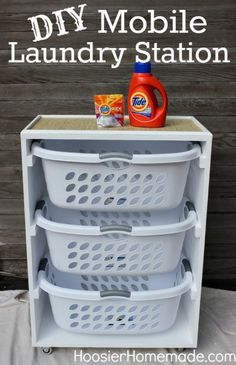 DIY Mobile Laundry Station :: Instructions on HoosierHomemade.com