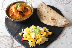 Prawn Curry with wholemeal roti and mango salad.