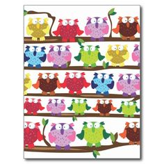 Funny Owls sitting on a branch pattern Post Cards