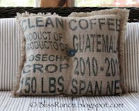 Coffee Sack Pillow– bought a couple coffee sacks & need something to do with them.