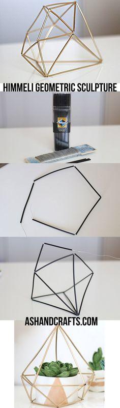 Himmeli Geometric Sculpture is part of Diy déco - Learn how to create these chic himmeli geometric sculptures for a modern, sleek look Diy Projects To Try, Craft Projects, Diy Projects For Bedroom, Backyard Projects, Craft Tutorials, Geometric Sculpture, Diy Casa, Creation Deco, Ideias Diy