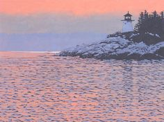 """""""Dawn Escort"""" Linocut Print by William H. Hays, The Artist's Loft, Brattleboro, Vermont"""