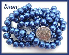50 Dark Royal Blue Round Glass Pearls 8mm by sugabeads on Etsy, $2.50