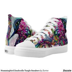 Hummingbird Zendoodle Tangle Sneakers Printed Shoes