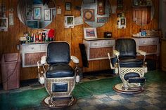Barber - Frenchtown NJ - Two old barber chairs  Photograph