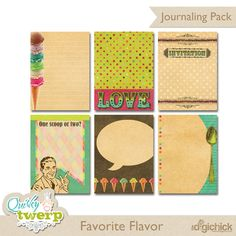 Quality DigiScrap Freebies: Favorite Flavor journal cards freebie from Quirky Twerp