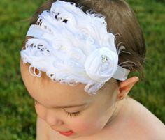 Baby Feather Headband - White Baby Headband - Baptism Headband by RoyalSistersBoutique on Etsy https://www.etsy.com/listing/190423939/baby-feather-headband-white-baby