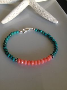 Beachy Turquoise and Coral Layering Bracelet by TheArtsyNomad