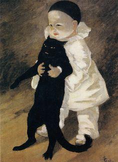 Pierrot et le chat    1889,  Théophile Alexandre Steinlen, (1859-1923)
