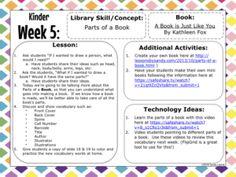 Updated Kinder Lesson Plans Kindergarten Library Lessons, School Library Lessons, Library Lesson Plans, Middle School Libraries, Elementary School Library, Library Skills, Library Books, Library Ideas, School