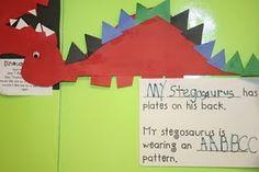 dinosaur patterning craft - pattern triangle spikes on stegosaurus.