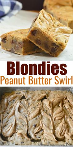 Blondies with Peanut Butter Swirl recipe. Blonde Brownie made with brown butter are a delicious dessert recipe from Serena Bakes Simply From Scratch. These are great for Super Bowl parties Easter Picnics Barbecues Memorial Day and Of July. Amazing Cookie Recipes, Best Dessert Recipes, Delicious Desserts, Bar Recipes, Yummy Food, Super Bowl Party, Strudel, Blonde Brownies, Kid Desserts