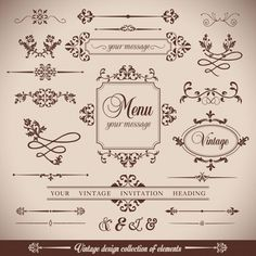 Flores VintageRetro quadro e calligrpaphic elementos