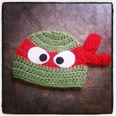 Ninja Turtle crochet hat.  Why didn't I think of this??.  Off The Hook Craftiness http://www.facebook.com/offthehookcraftiness