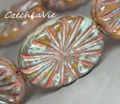 NEW Czech Carved Ovals Mix of blues with picasso 063 by CzechLaVie, $3.35