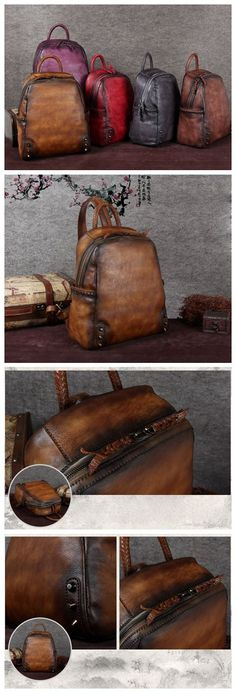 ROCKCOW Handmade Vintage Leather Backpack, Travel Backpack