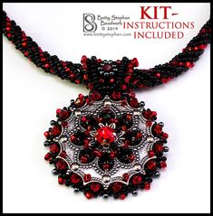 Metallia Necklace Kit- Red- bead embroidery, bead weaving instructions included