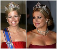 THE MELLERIO RUBY TIARA Created by Paris jeweler Mellerio dits Meller for  the Dutch Royal Family.    It has been worn by all the Dutch Queens, Queens Emma, Wilhelmina, Juliana, Beatrix, and here, Queen to be, Princess Máxima.