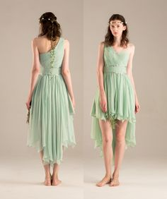 Dusty Shale Bridesmaid dress, Mint One Shoulder Wedding dress, High Low Evening dress, beading Chiffon Formal dress, Prom dress——From Renzrags RENZ