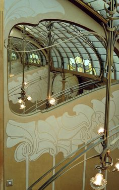 Victor Horta's 1898 house and studio, now known as the Horta Museum, is an example of architecture whose Hotel Design Architecture, Art Nouveau Architecture, Architecture Details, Art Nouveau Interior, Art Nouveau Design, Arte Floral, Monuments, Decoration, Brussels Belgium