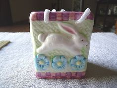 """Babys Room Planter / Trinket Box With Pics Of Rabbits / Flowers """" BEAUTIFUL ITEM #collectibles #ceramics #home"""