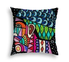 Human Brain Surreal Head Art Pillow -   -  Modern Abstract Folk Art by Heather Galler Medical Science Anatomy