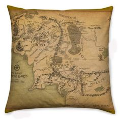 Middle Earth Cushion, Pillow, The Hobbit, Lord Of The Rings, Geek Pillow, Rooby Lane