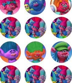 Trolls Movie Birthday Party Printable Files Cupcake Topper
