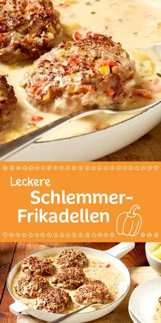 Schlemmer-Frikadellen Spicy meatballs in a creamy sauce with peppers – a real treat! Easy Cooking, Cooking Recipes, Healthy Recipes, Spicy Meatballs, Barbecue Sauce Recipes, Pork Barbecue, Bbq Ribs, Albondigas, Soul Food