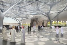 ABU DHABI- The UAE Geometrical Forest is an architectural forest that is integrated into its environment. Attached to the tree structure is a lightweight membrane, with the tree leaves shadowing and filtering the Arabic sun. The tree structure consists of four identical types of trees growing into a second type that forms the dome that spans the centre of the court.