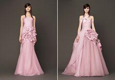 Az A-vonalú szoknya lehet finoman bővülő, de habos-babos, királylányos is. Prom Dresses, Formal Dresses, Wedding Dresses, Bridal Fashion Week, Vera Wang, Bridal Collection, Coral, Dress Ideas, Peony