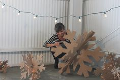 Giant Cardboard Snowflakes Set Free S hipping by MettaPrints Christmas Stage Design, Noel Christmas, Christmas 2017, Outdoor Christmas, Christmas Projects, All Things Christmas, Winter Christmas, Holiday Crafts, Christmas Ornaments