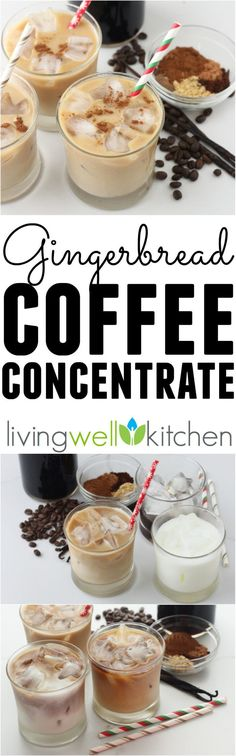 Enjoy the flavors of the Christmas season in this homemade holiday cold brew coffee. This Gingerbread Coffee Concentrate recipe  is great for making hot or iced lattes and perfect for gifting to others.