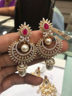 Chandbalies  *PREMRAJ SHANTILAL JAIN JEWELLERS* Diamond Earrings Indian, Diamond Jhumkas, Diamond Earing, Diamond Jewelry, Jewelry Design Earrings, Big Earrings, Fashion Earrings, Fashion Jewelry, Indian Wedding Jewelry