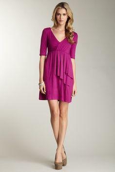 Surplice Dress with Double Cascade