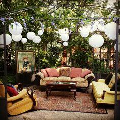 Vintage outdoor reception lounge at Storybrook Farm.