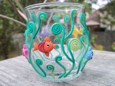 Polymer Clay Decorated Votive Holder - Under the Sea