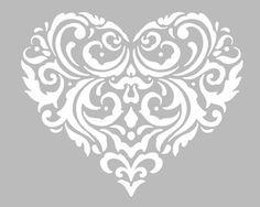 Pochoir Adhésif Home Déco 20 x 16 cm GRAND COEUR STYLISE & ARABESQUES Heart Stencil, Stencil Art, Heart Clip Art, Adhesive Stencils, Belly Painting, Stencil Patterns, Silhouette Portrait, Silhouette Cameo Projects, Printed Bags