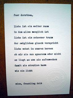 Sag mir ein Wort und ich schreib dir ein Gedicht. Inspirationswort: Liebe.