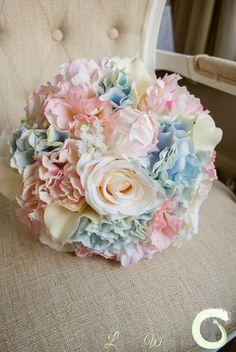 Pale pink rose quartz and serenity blue silk wedding bouquet