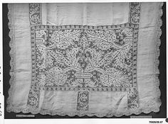 Altar cloth Date: 17th century Culture: Italian Medium: Linen, embroidered net Accession Number: 28.67