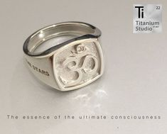 Custom made silver cast Om ring with diamond.