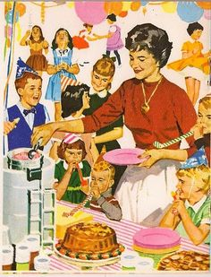 Vintage birthday party :: 1950s happy housewife serving cake and ice cream to vivacious kids