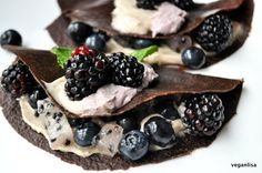 Raw Vegan Carob Crepes with Coconut Cream -- Replace the agave with dates or figs!!! This tip is from Chef Raederle: Agave has more fructose than high fructose corn syrup!