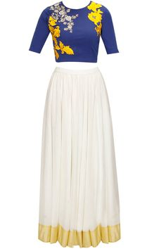 Blue dabka embroidered crop top with white long skirt available only at Pernia's Pop-Up Shop.
