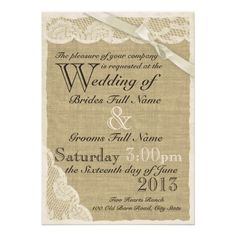 country themed wedding invitations | Antique White Lace Country Wedding Personalized Invites from Zazzle ...