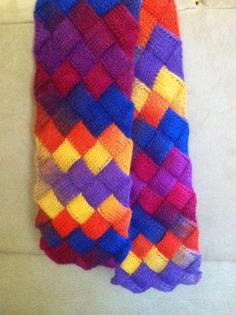 Bright entrelac scarf - oh my goodness!  How beautiful is that!  I am an entrelac addict and think I must know the yarn(s) you used!!